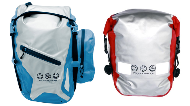 two waterproof panniers blue and red