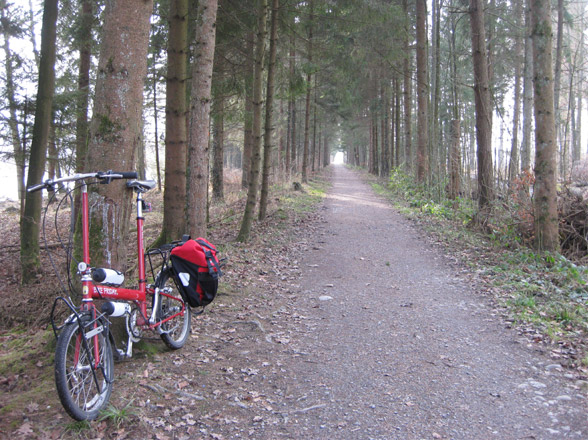 red bike friday new world tourist folding bicycle in swiss forest