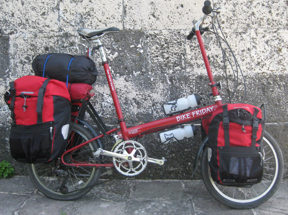 side view of loaded Bike Friday New World Tourist folding bicycle