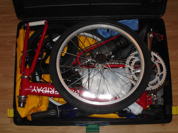 Bike Friday New World Tourist folding packed in suitcase travel case