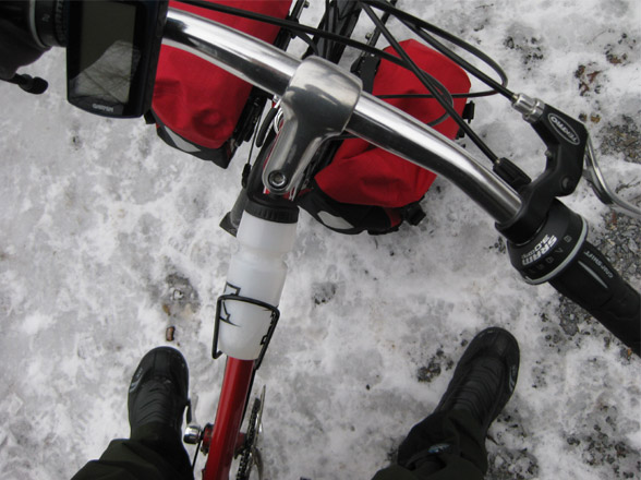 Bike Friday New World Tourist folding bicycle handlebars in the snow