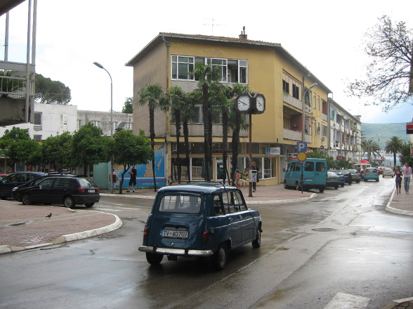 street corner and old car in montenegro