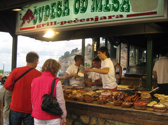 food stall in montenegro serving grilled meat
