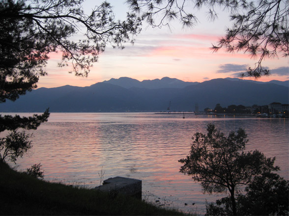 montenegro sunset over the water and mountains