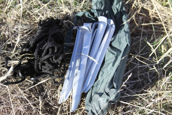 tent stakes and tie down string