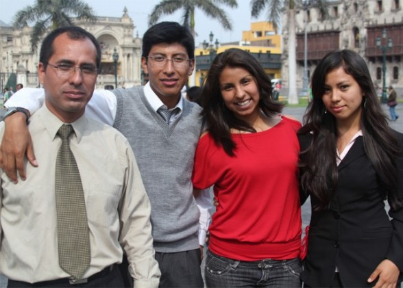 four students in lima peru - perfect travel photo