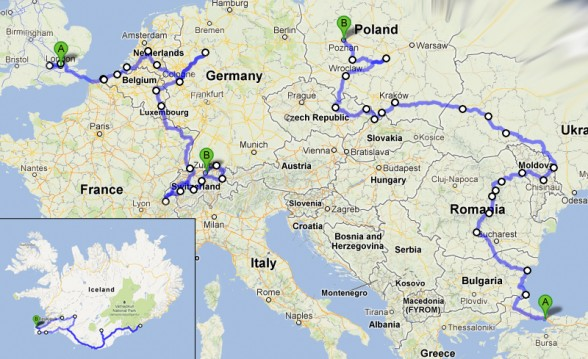 Darren Alff's 2012 Bicycle Touring route