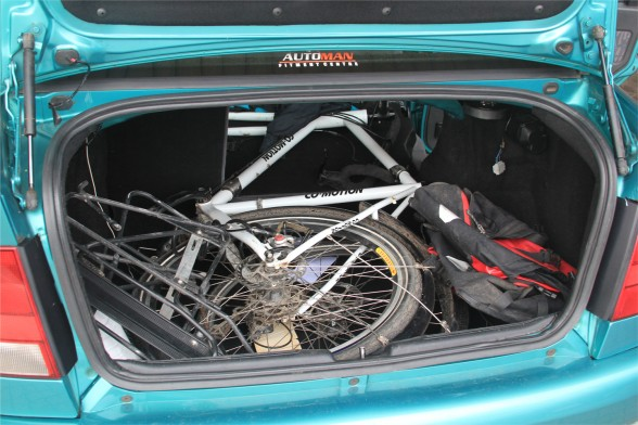 Bicycle in the trunk of a car