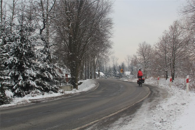 winter road in southern poland