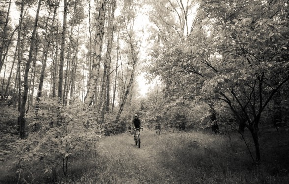 Darren Alff cycling through the trees in Poznan, Poland
