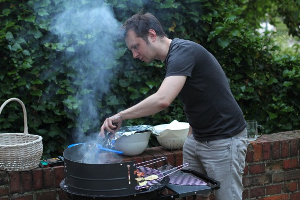 Marek cooking at the barbeque