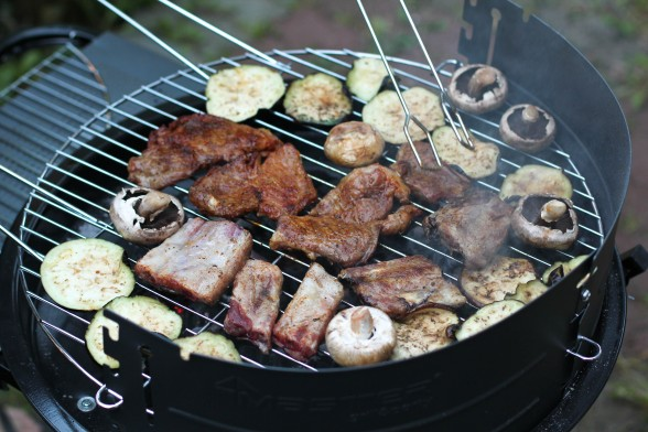 meat and veggies on a bbq