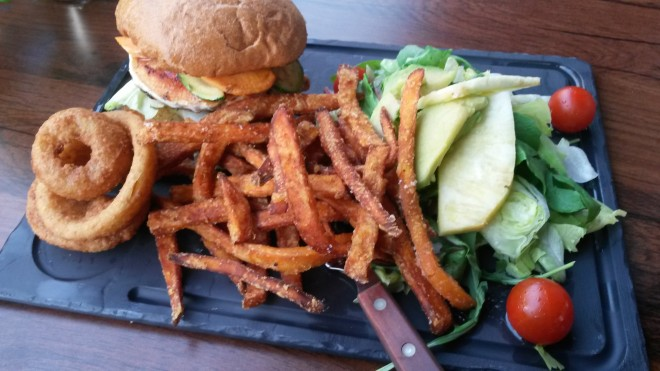 Veggie burger with sweet potato french fries