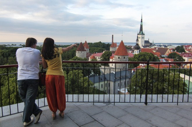 Couples in love in Tallinn, Estonia