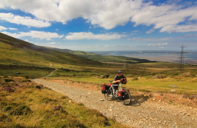 Pushing a loaded touring bicycle uphill in Wales