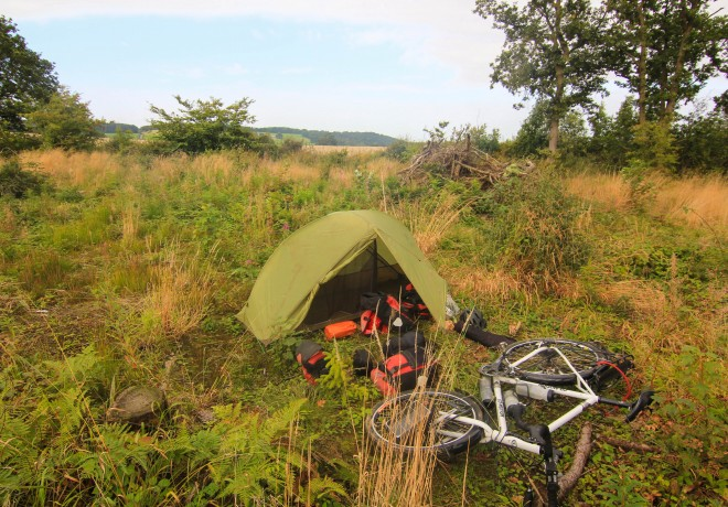 Bicycle campsite in Wales