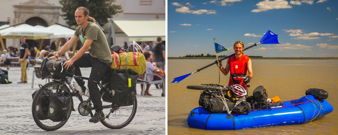 bikerafting with a touring bicycle and packraft