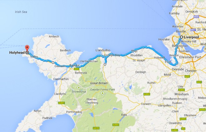 Holyhead Wales to Liverpool England bicycle route