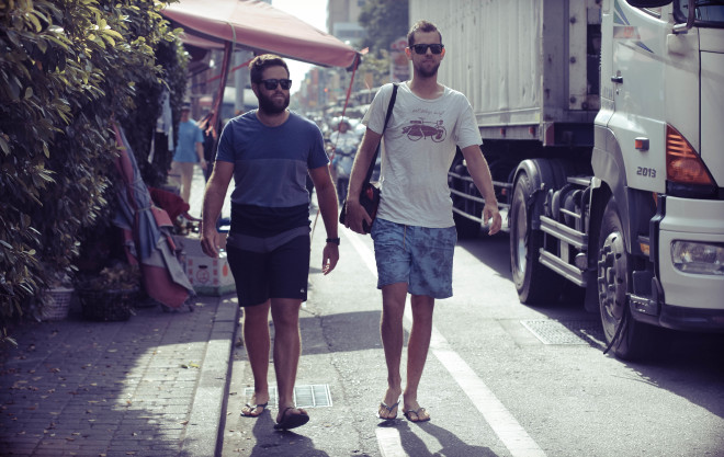 Rian Cope and Dylan Brayshaw walking in Taiwan