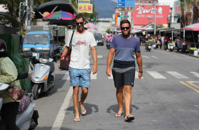 eat sleep surf partners walking in Taiwan