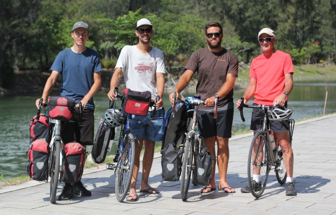bicycle touring professionals Dylan Brayshaw and Rian Cope and Darren Alff