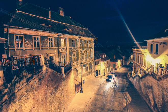 nighttime photos of Sibiu Romania