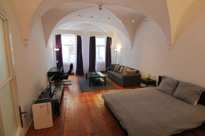 interior photo of the gothic romanian studio apartment i rented from airbnb in the city of sibiu