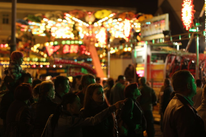 dark festival lights of oktoberfest carnival