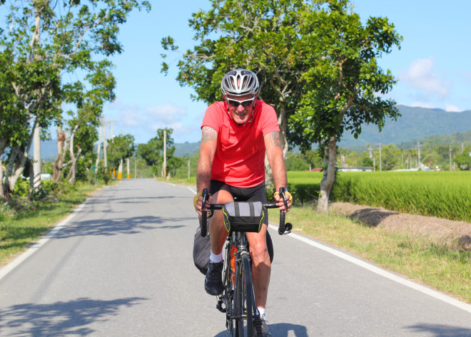 hot day of cycling in taiwan