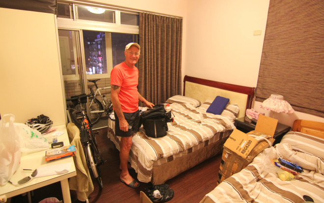 first day of a bike tour - staying at a hostel