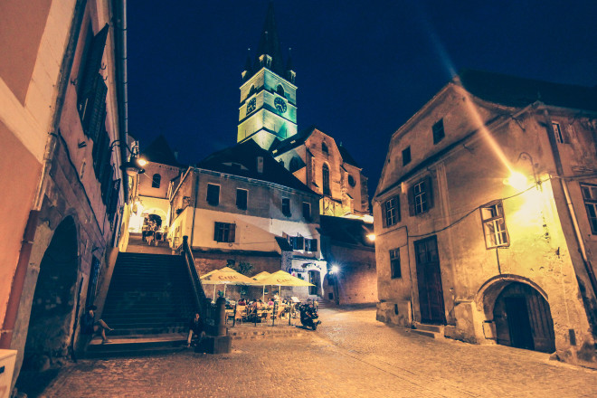 sibiu clock tower at night