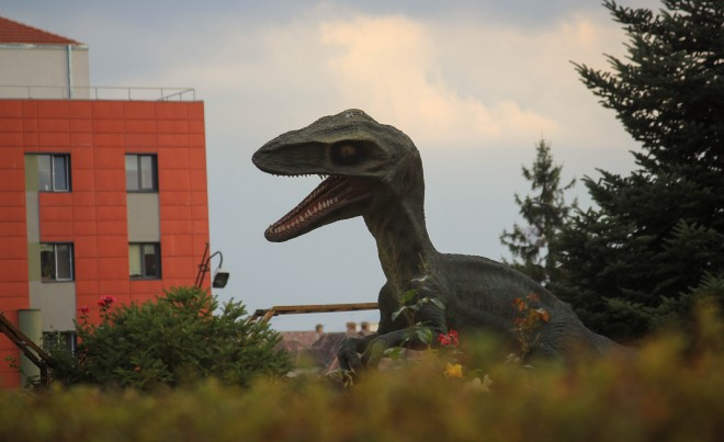 dinosair in urban environment