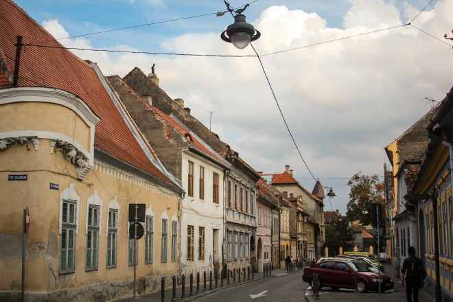 street lights and houses in romania