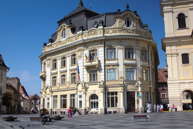 city hall building in sibiu romania
