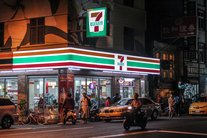 7-Eleven store in Taiwan at night