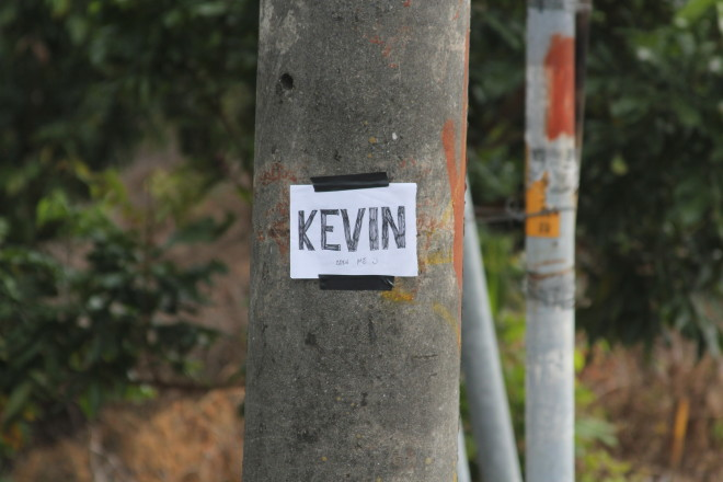 note I left for Kevin on a street pole
