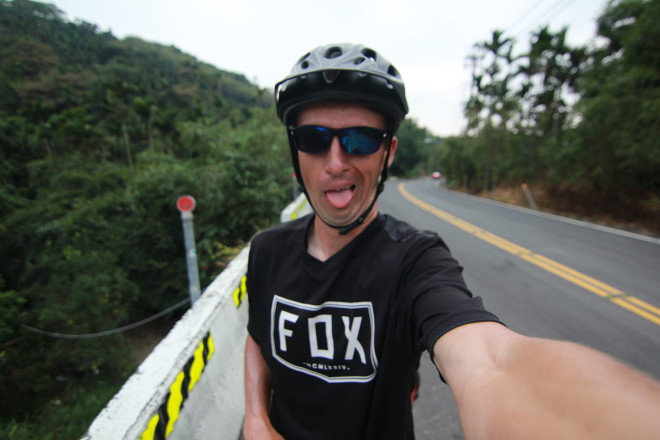 funny Bicycle Touring Pro uphill selfie