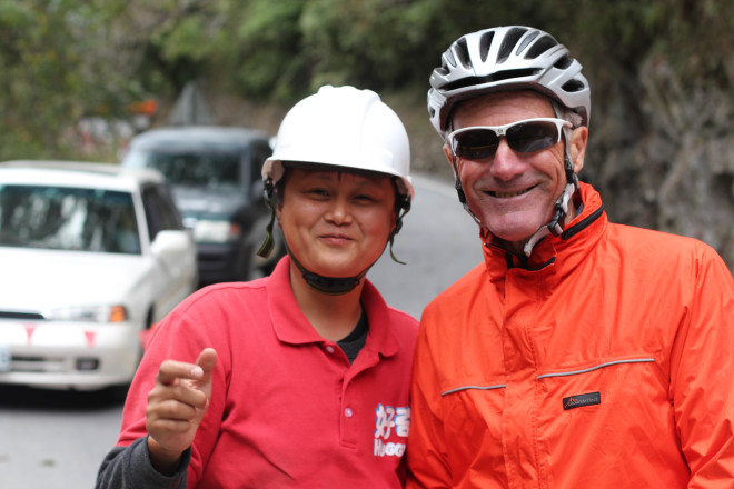Kevin and female road worker