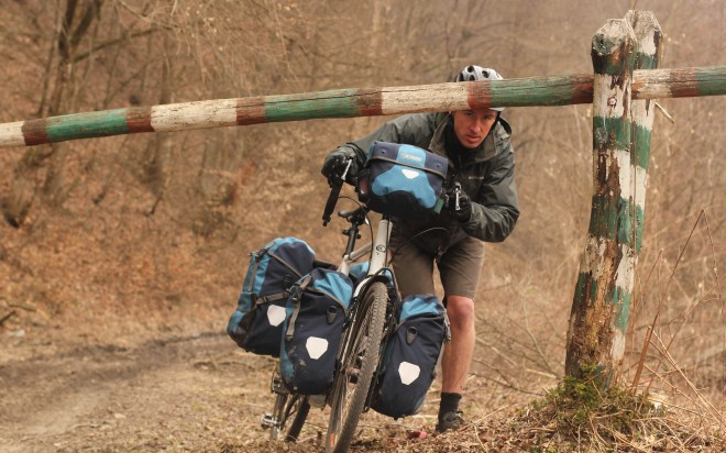 border crossing in ukraine with touring bicycle and ortlieb bags