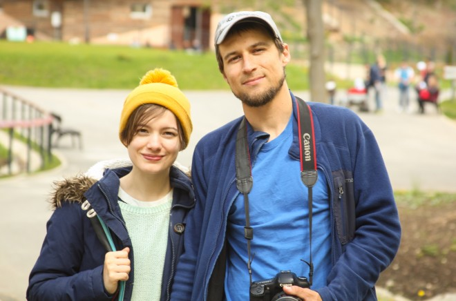 Mike Hedge and Sophie Wilkie at the Zoo in Brasov, Romania