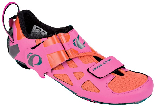 pink and red triathlon shoes