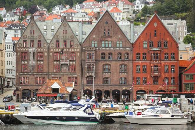 pointed brick buildings in bergen norway