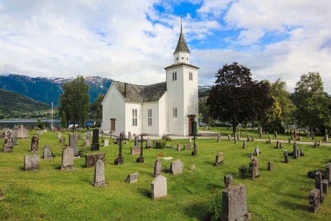 Ulvik Norway church and cemetary