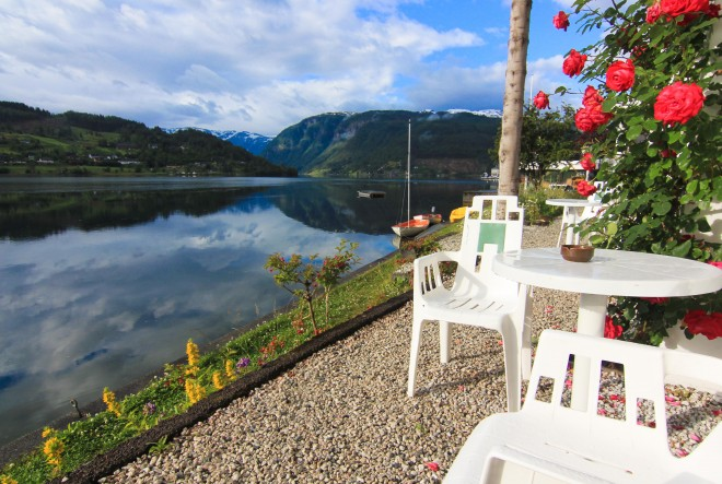 Ulvik Hotel patio fjord view