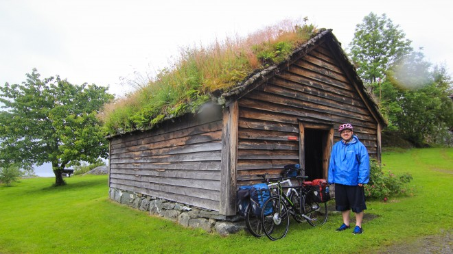 norway wooden house with grass roof