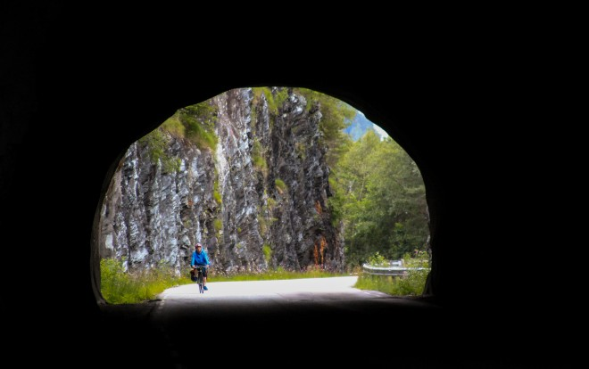 biking through tunnels in norway