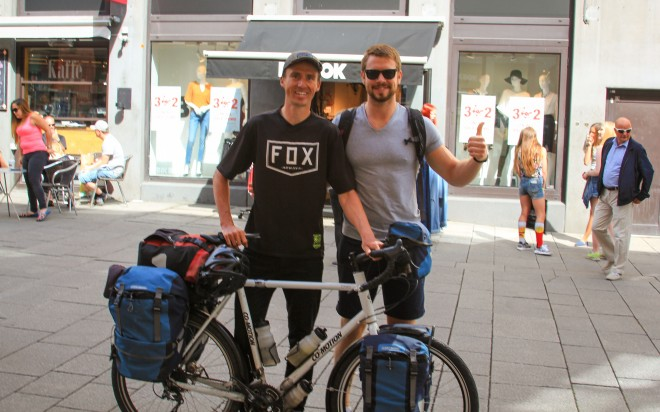 darren alff and bicycle touring pro fan named ulvik in oslo norway