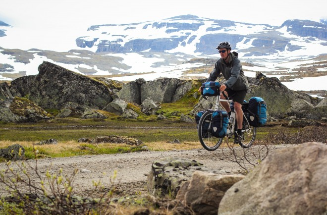 rallervegen bike path in norway with ortlieb waterproof pannier bags