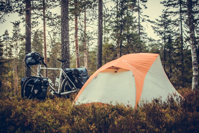 ortlieb panniers while camping in a swedish forest