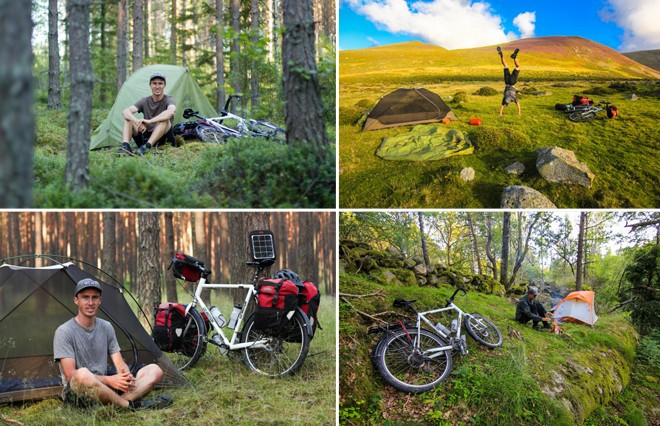 bike touring photography tips for taking photos of you, your bicycle and your tent